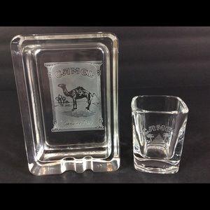 Vintage Camel Etched Glass Ashtray & Shot Glass